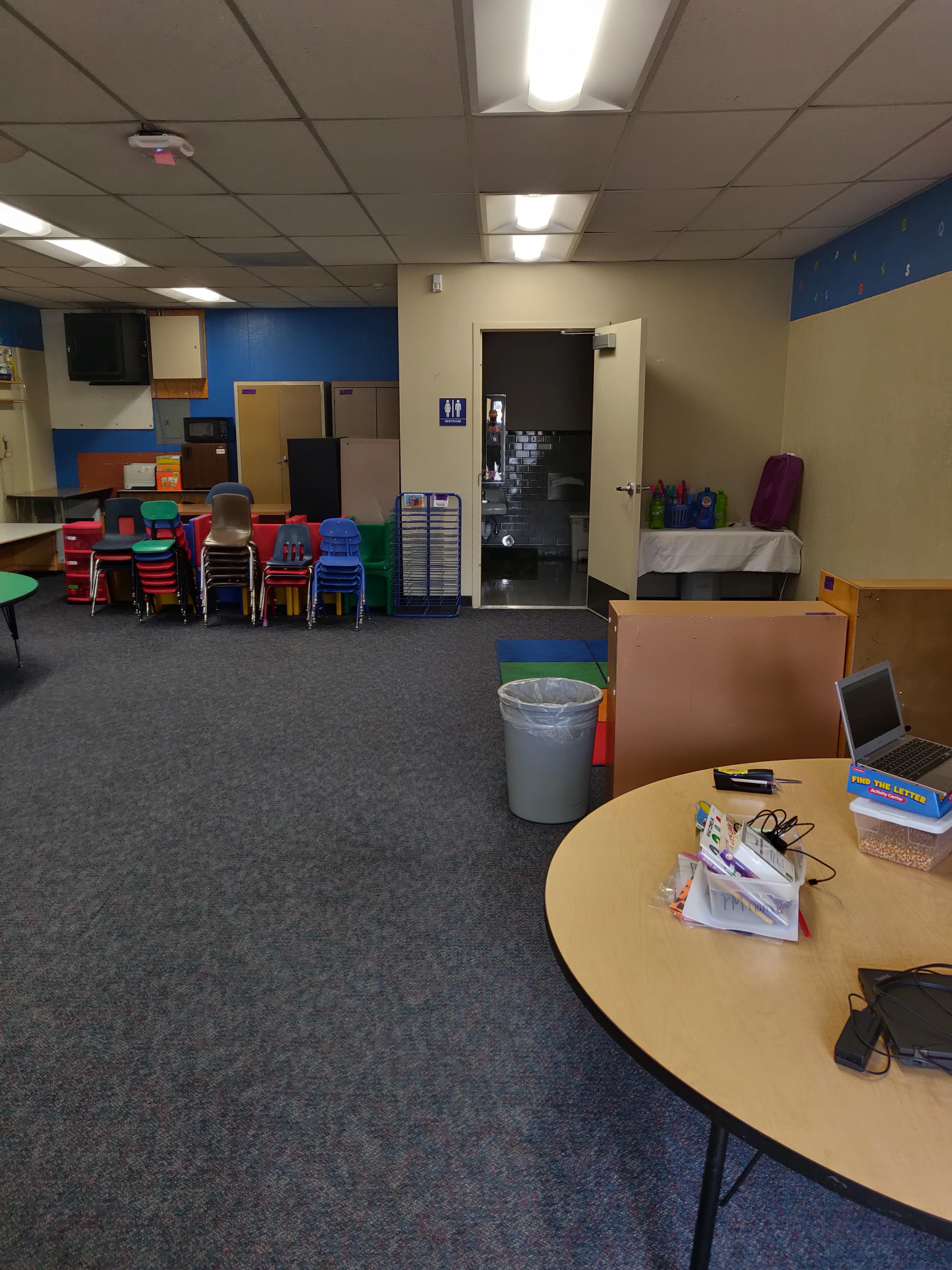 classroom cleared out for social distancing