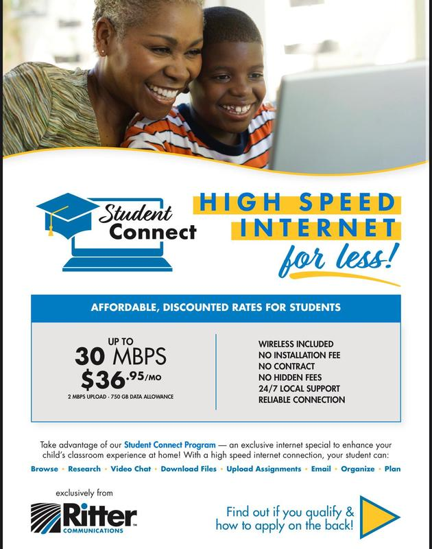 Ritter Communications Offering Reduced Cost on Internet Service for K-12 Students! Featured Photo