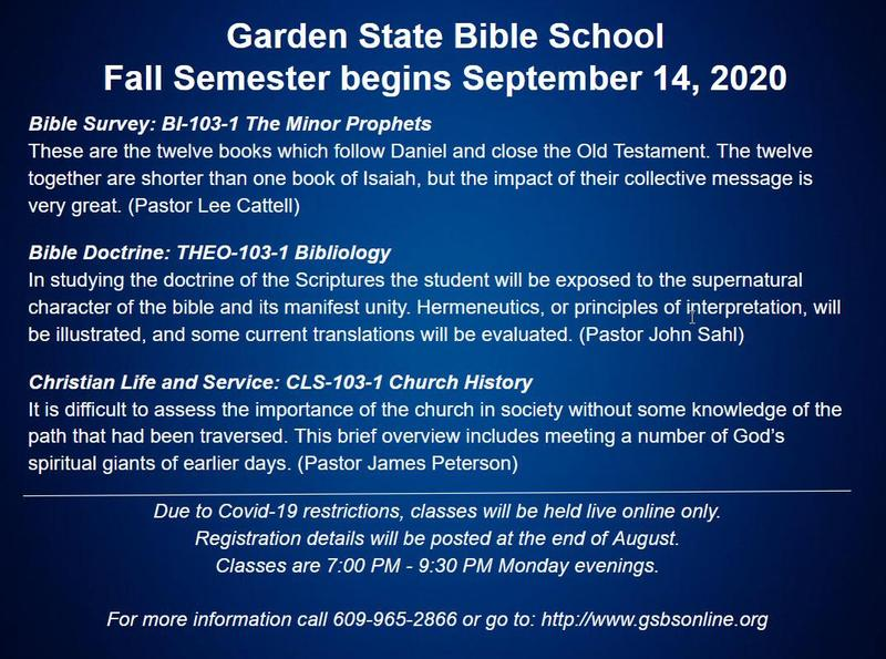 Garden State Bible School begins Sept. 14, 2020 Featured Photo