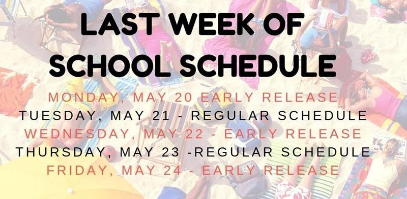 Reminder, 3 early release days during the last week of school! Thumbnail Image