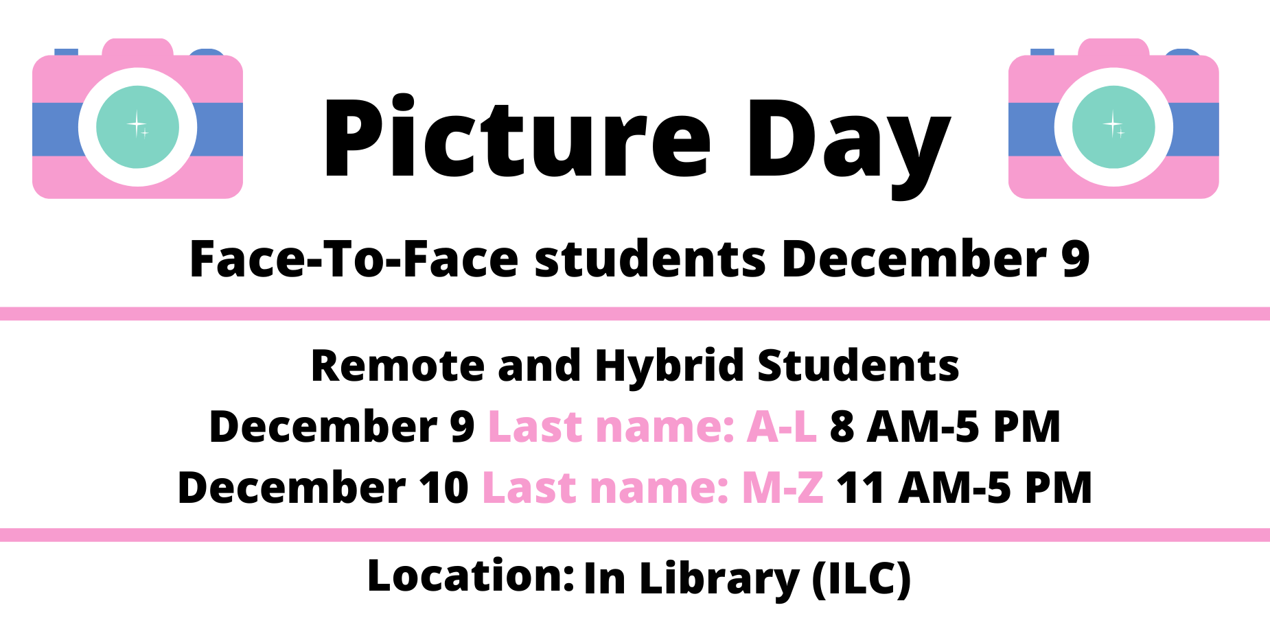 image shows cameras and picture day information
