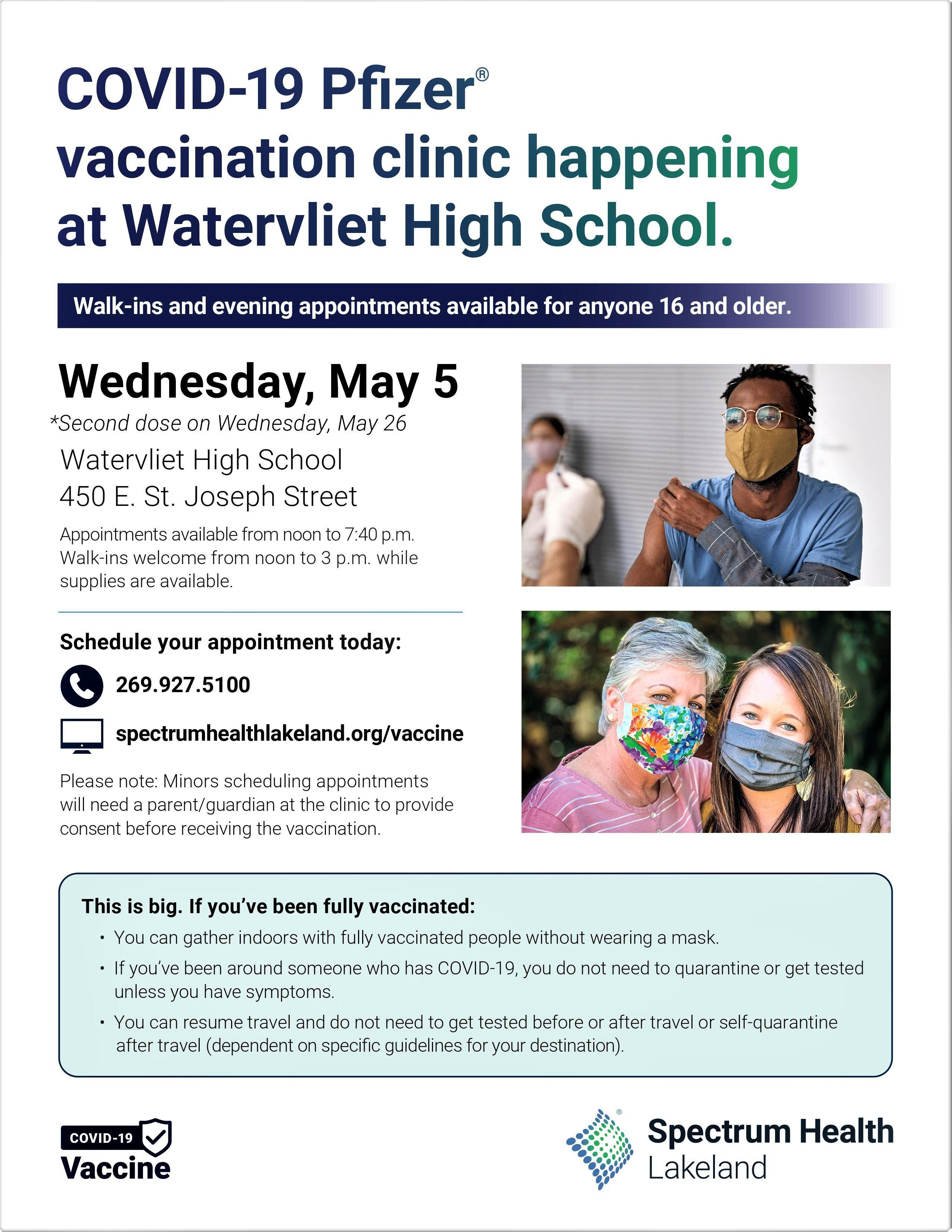 Flier for Covid-19 Vaccine clinic at Watervliet High School on May 5, 2021