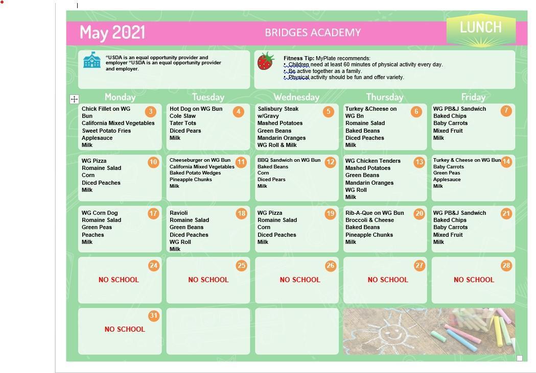 Lunch menu May