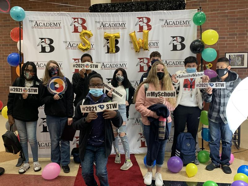 Busbee students celebrate the designation as a National School to Watch