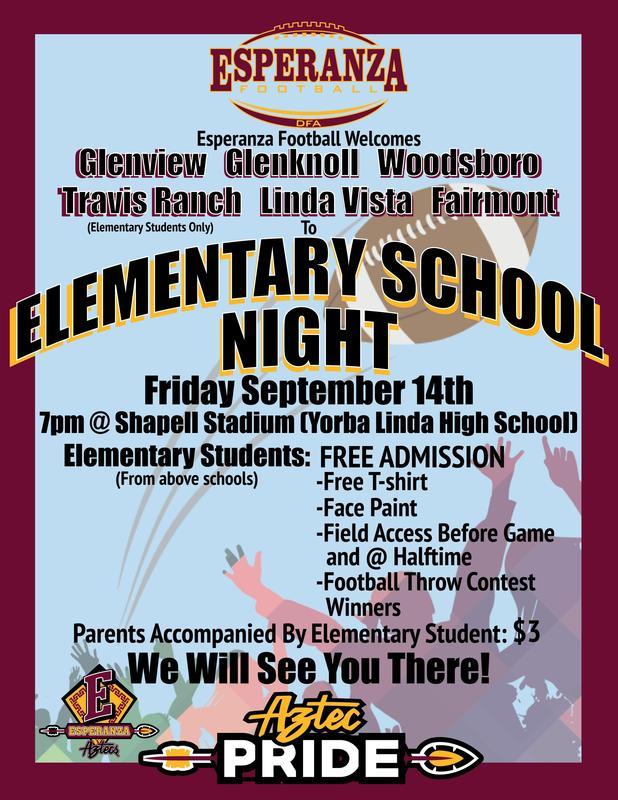 Elementary School Night at Esperanza Football Thumbnail Image