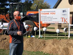 Assistant Superintendent Craig McCarthy welcomes guests to the groundbreaking ceremony.
