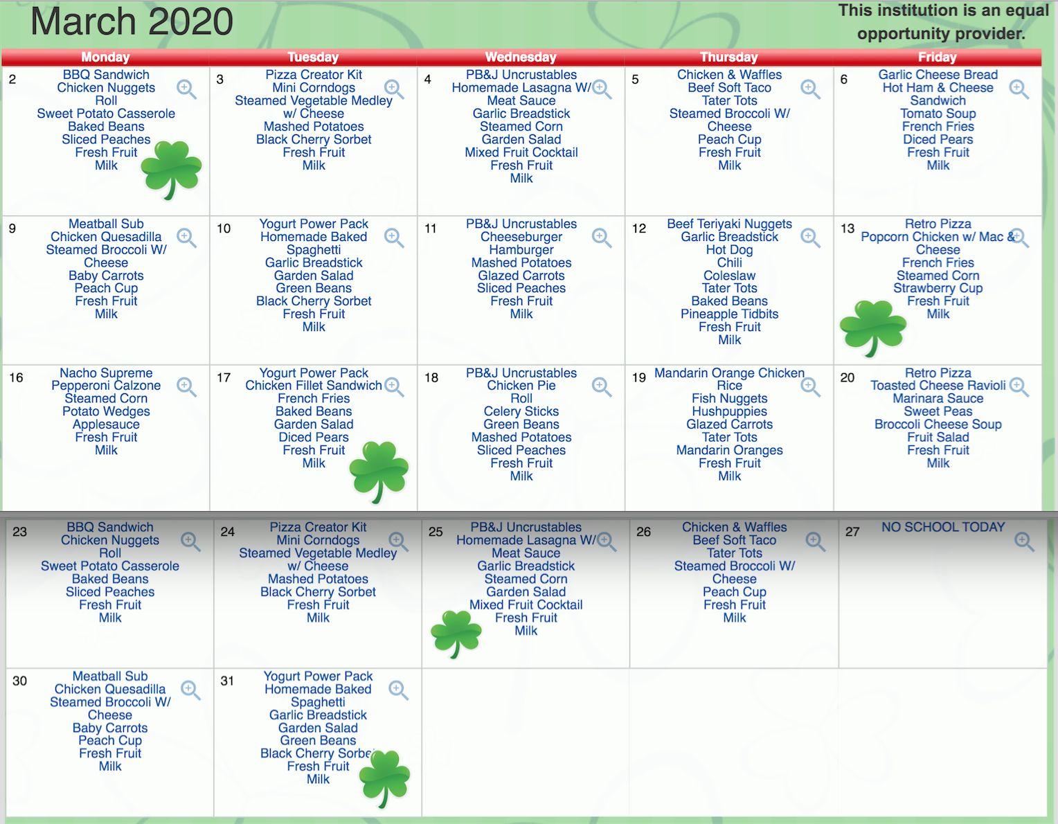 March Lunch Calendar
