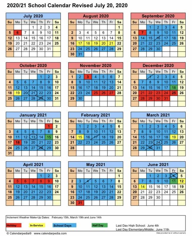 2020-2021 Revised School Calendar Featured Photo