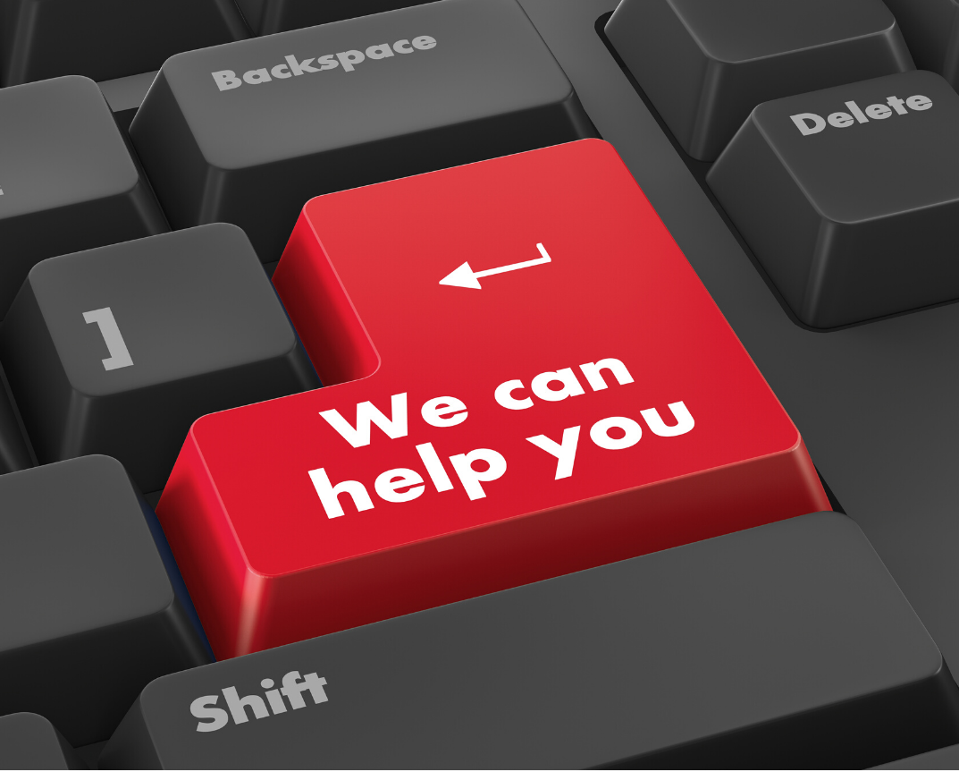 keyboard with key that reads we canhelp you