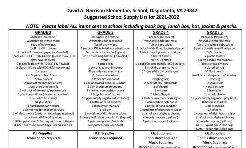 2nd Grade - 5th Grade Supply List and Orientation Schedule Featured Photo