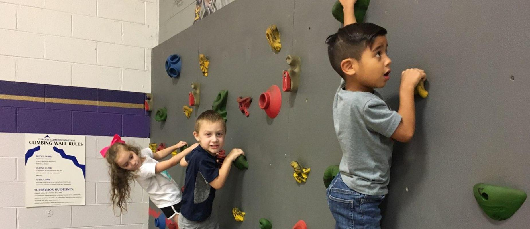 Students climbing wall