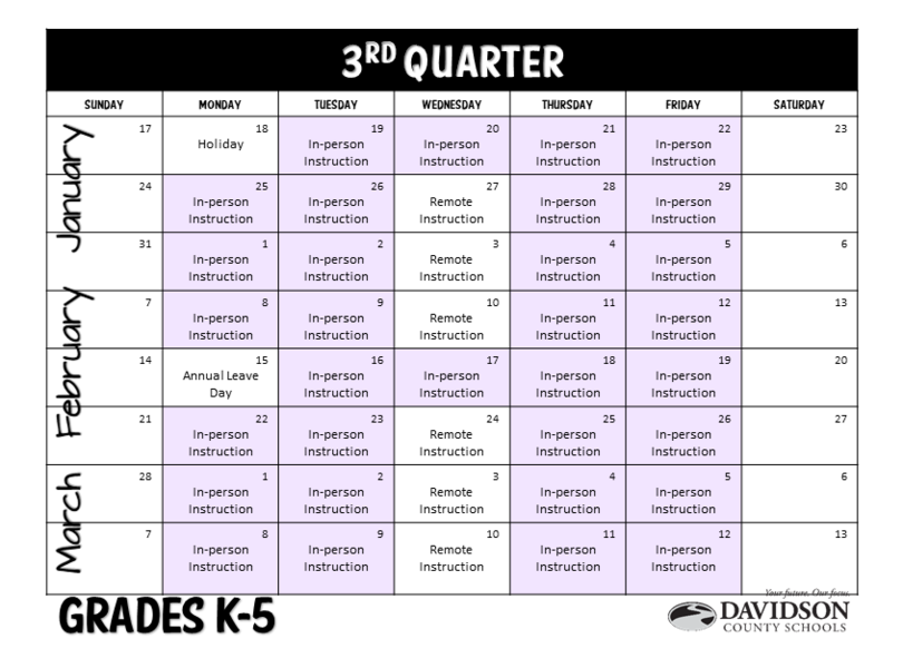 Calendar for January, February, and March.