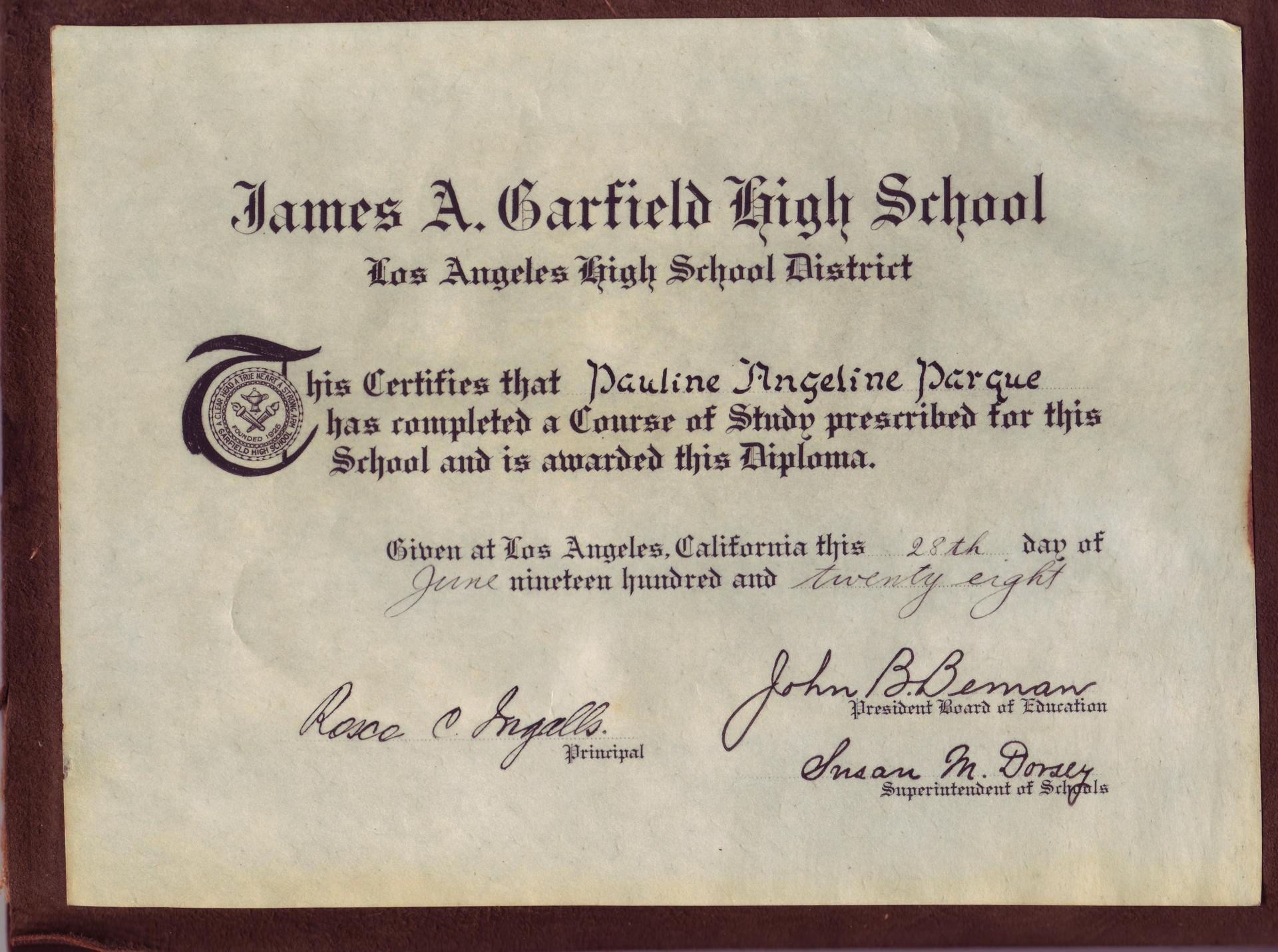 1928 Diploma from Garfield