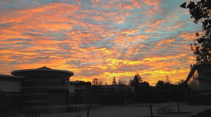 sunrise over campus