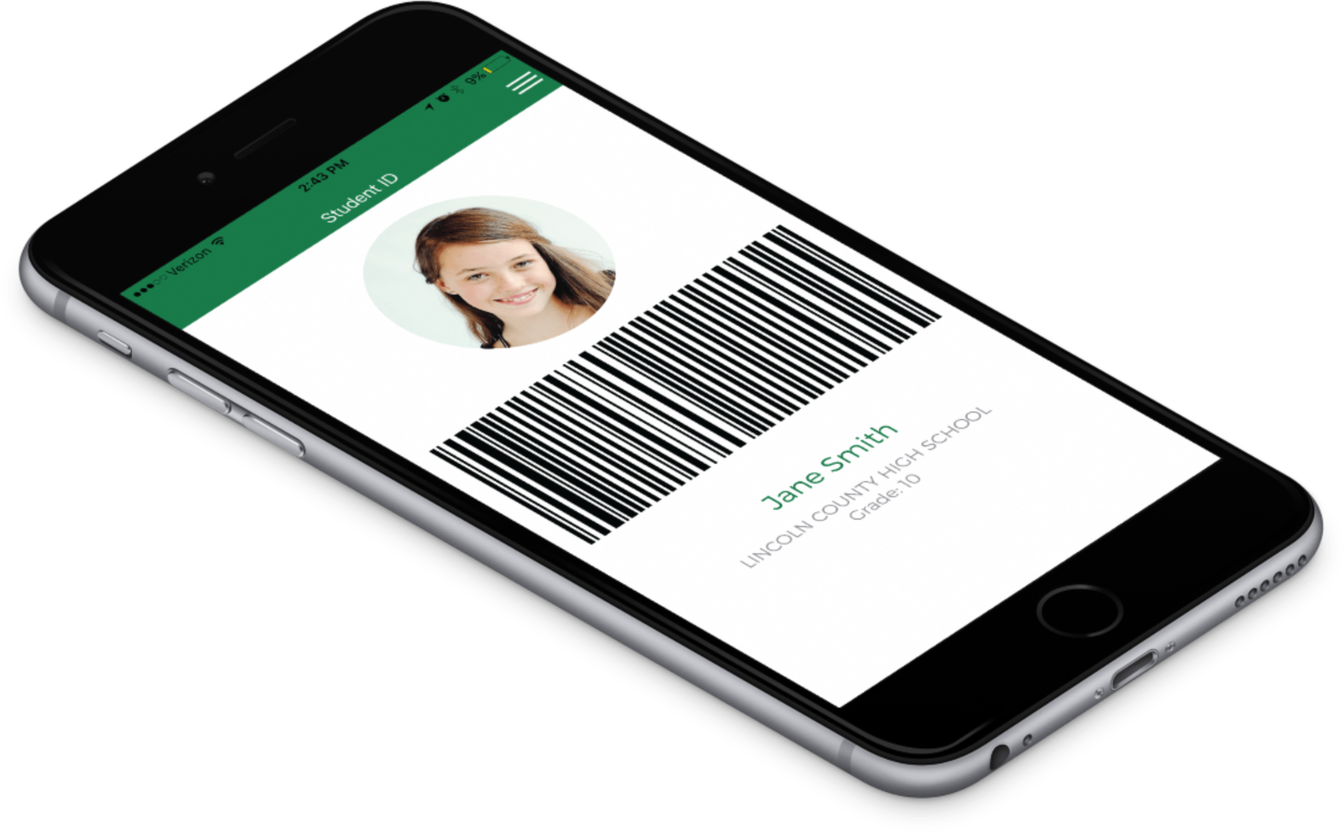 photo of bar code on a mobile device