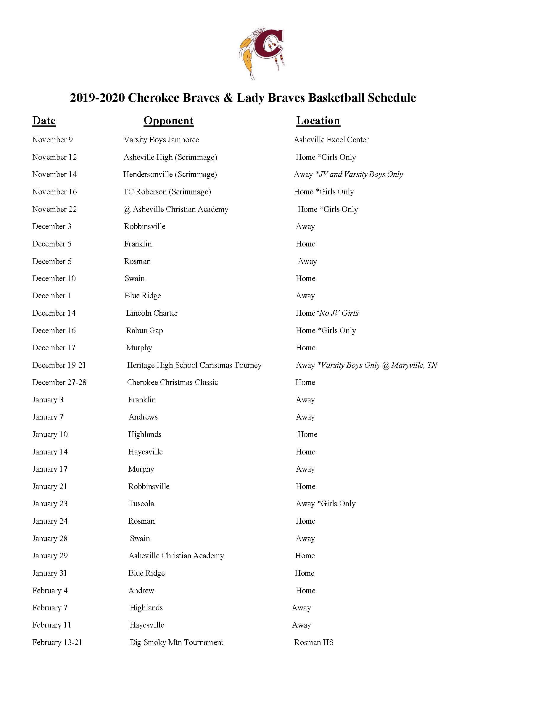 2019-2020 CHS Revised Basketball Schedule
