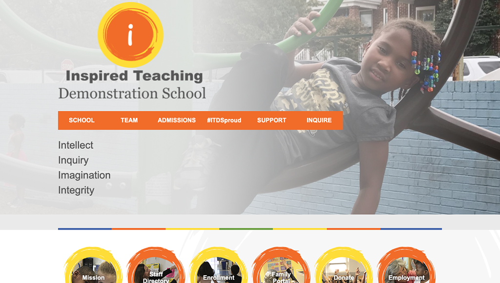 Inspired Teaching Demonstration Public Charter School website design