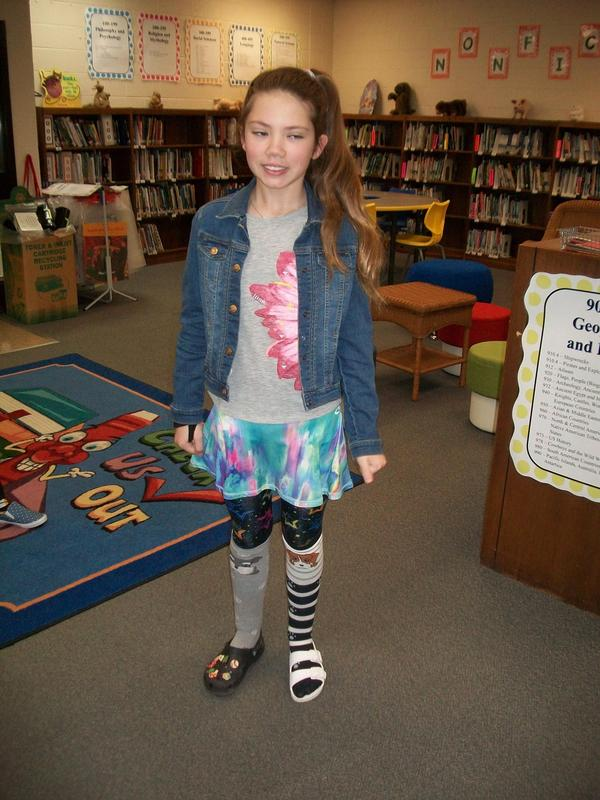 A student dressed up for Wacky Day.