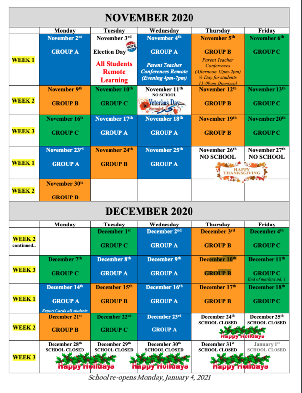 November and December 2020 Groups, A, B, and C Color Coded School Calendar Schedule