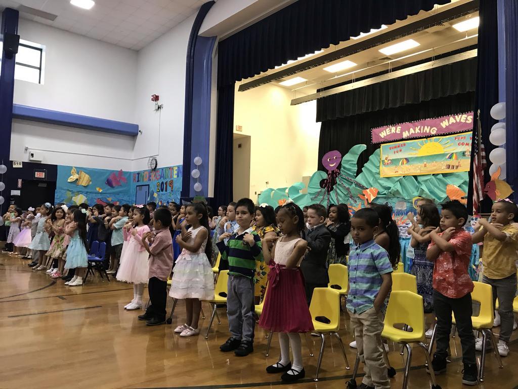 close up of kindergartners singing