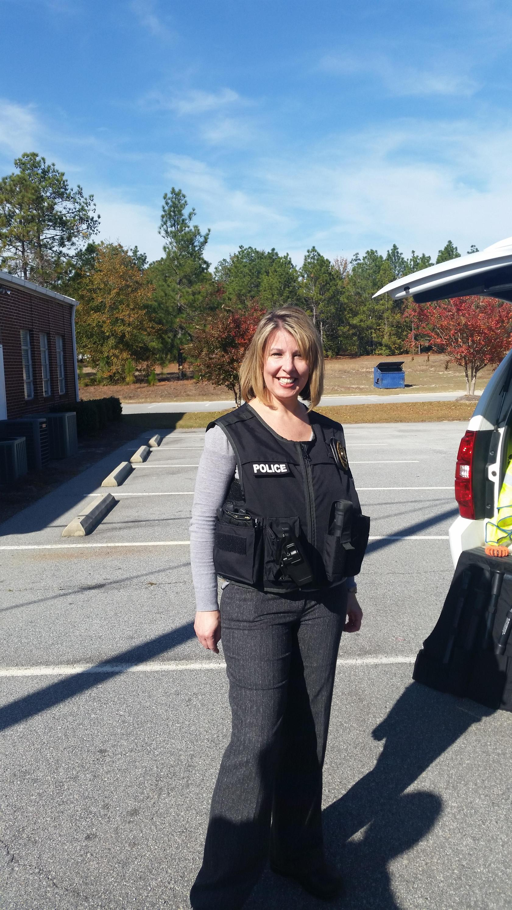 Principal Hope Vrana at Career Vehicle Day