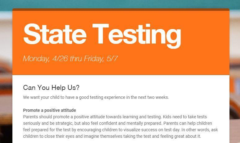 State Testing Begins