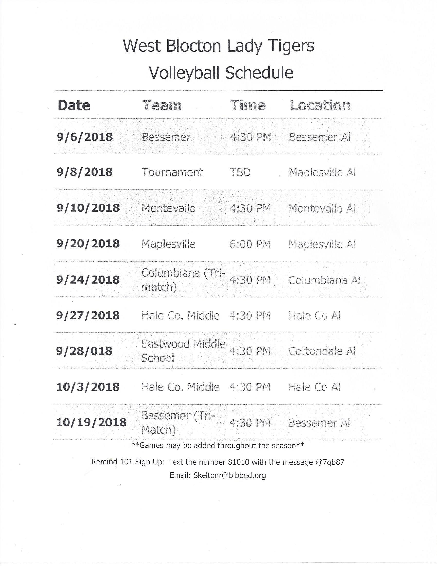 WBMS 2018 Volleyball Schedule