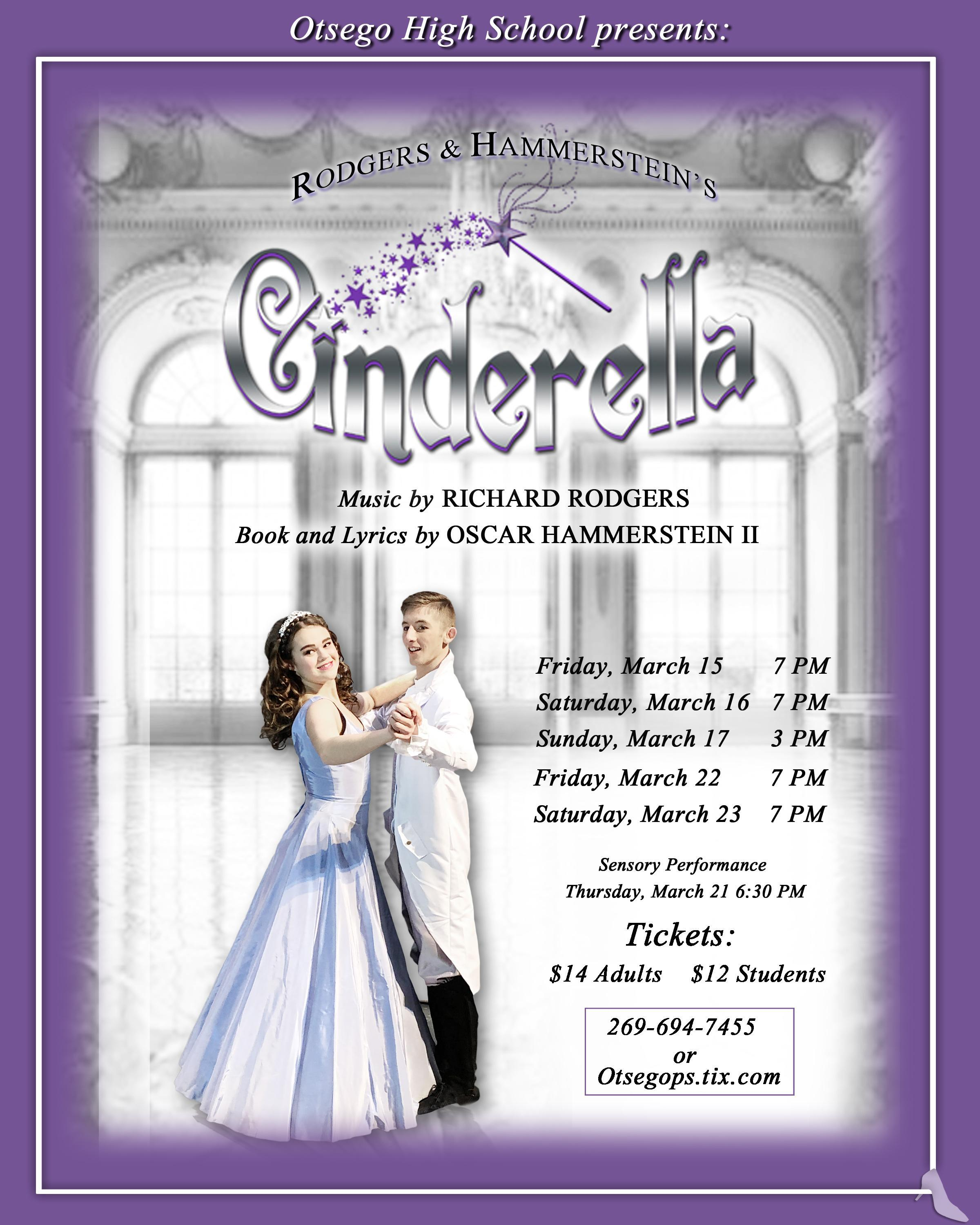 Poster for Cinderella. All text in poster is listed on the page.