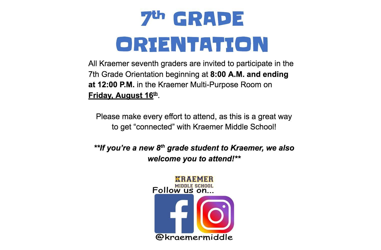 7th Grade Orientation on August 16