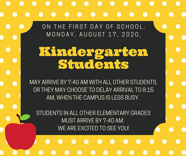Kinder first day of school info