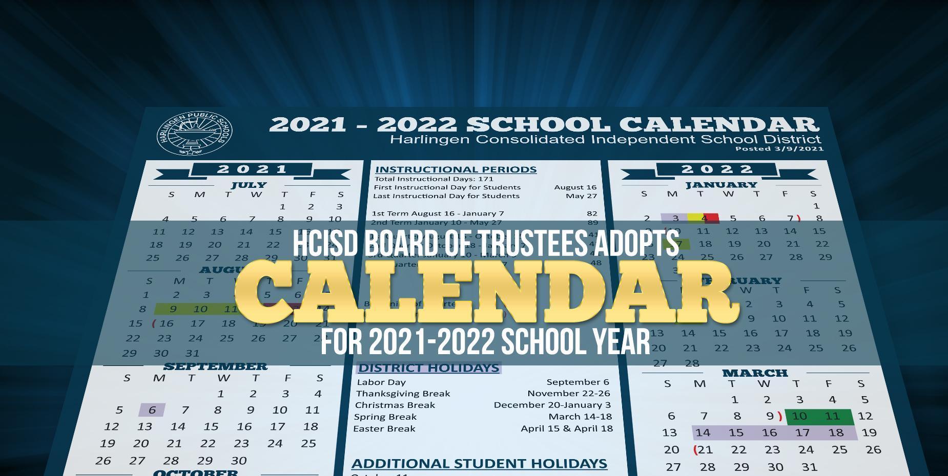 HCISD Board adopts calendar for 2021-2022 year
