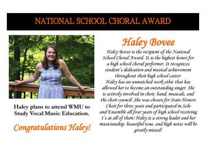 Haley Bovee received the National School Choral Award.