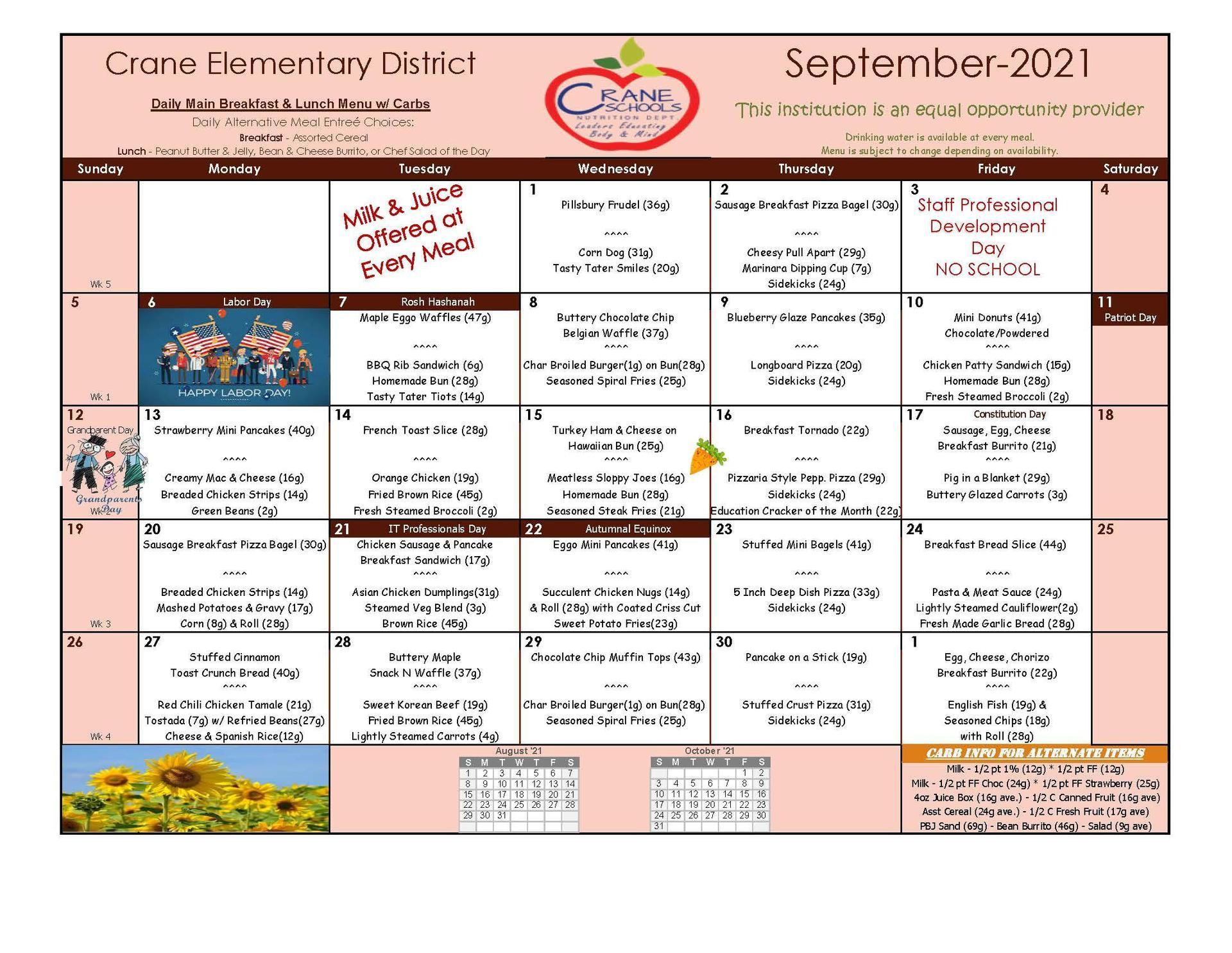 Crane Schools September Poster Menu 2021