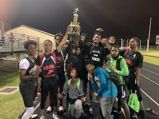 a photo of the Baker Middle School Boys on the night of their winning 2nd place at the Brusly classic