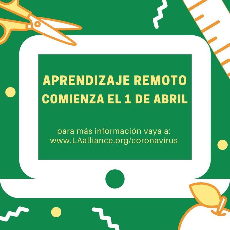 Distance Learning Begins April 1st / Aprendizaje Remoto Comienza el 1 de Abril Thumbnail Image