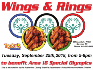 Wings and Rings at Toot's in Smyrna sponsored by Rutherford County SRO division.