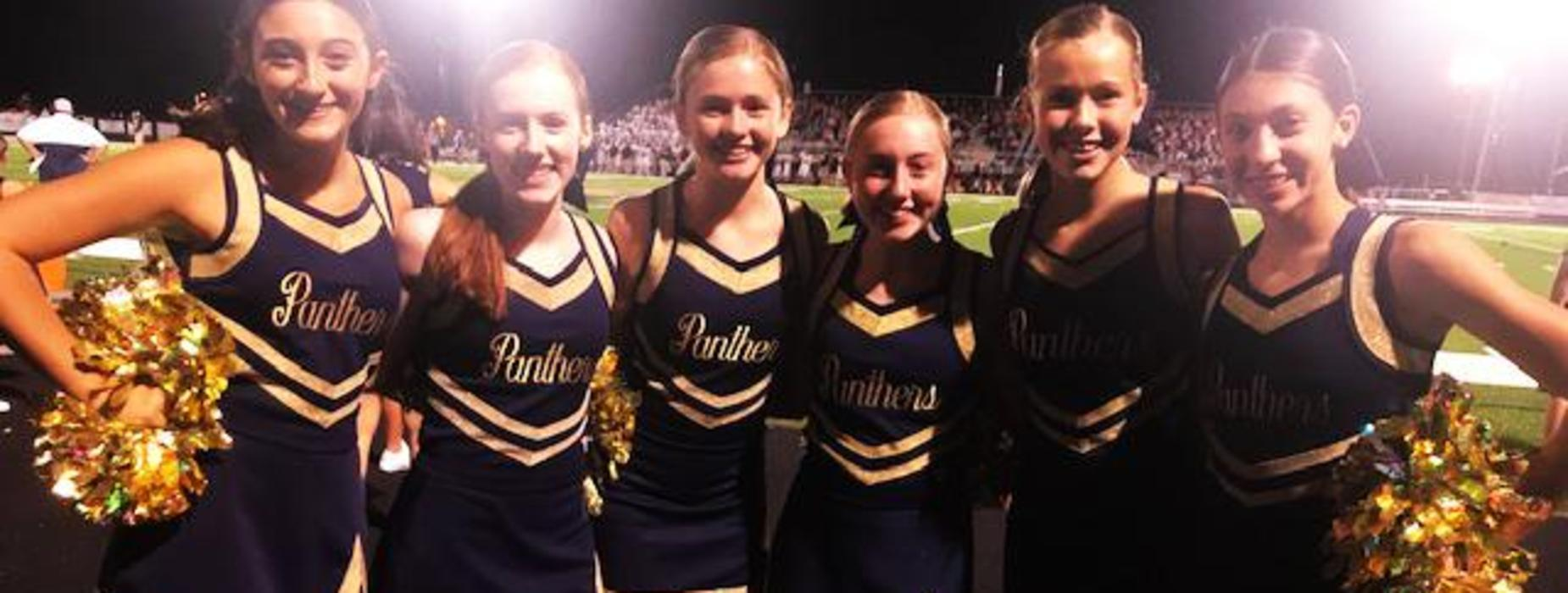 The FRMS Cheerleaders show their school spirit at the first home game!