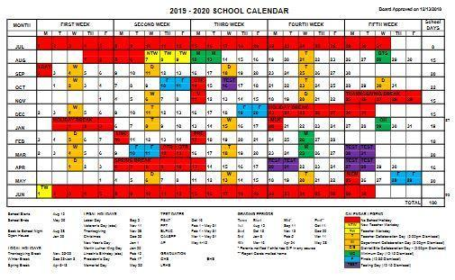 2019-2020 School District Calendar Thumbnail Image