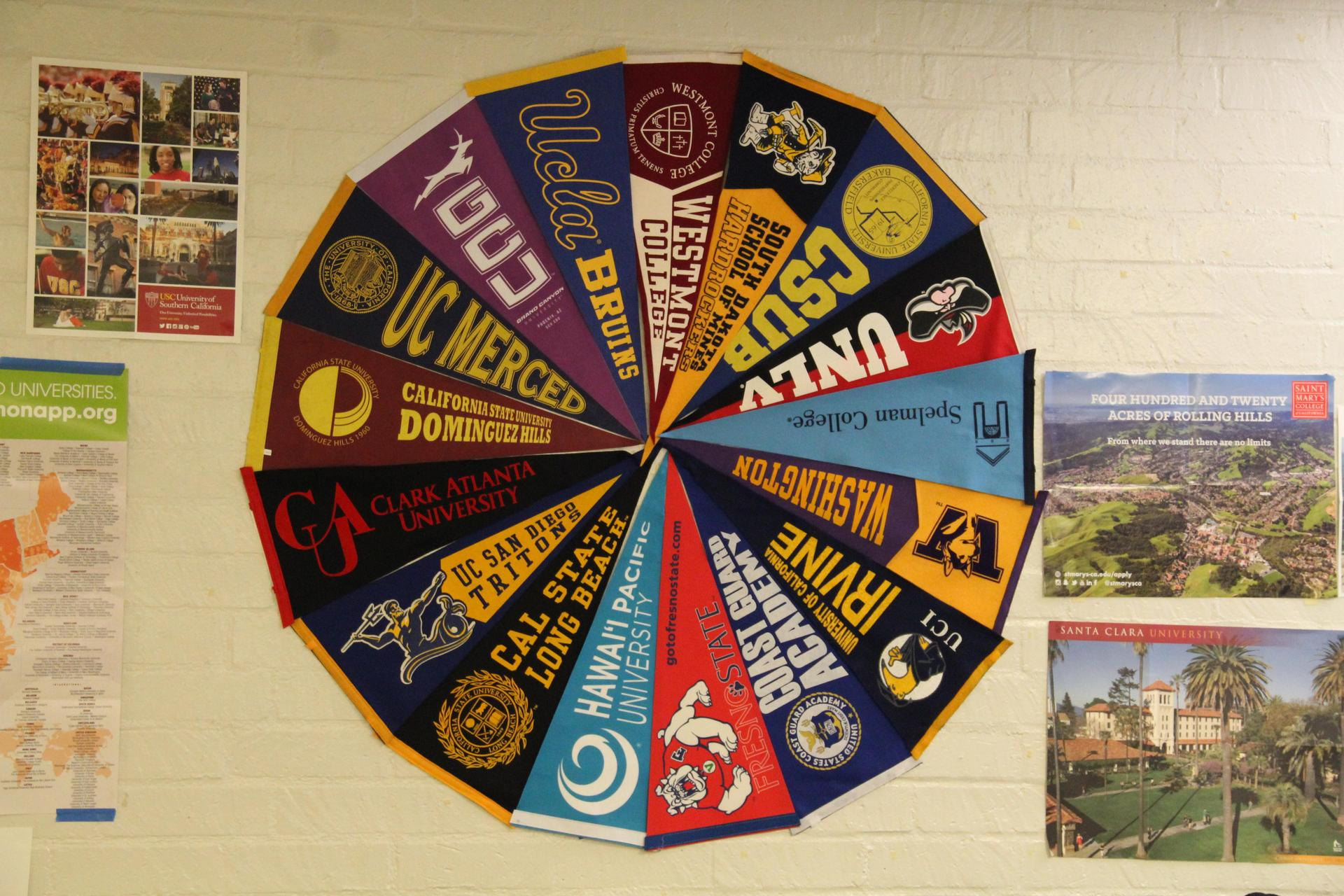 pinwheel image of college pennants.