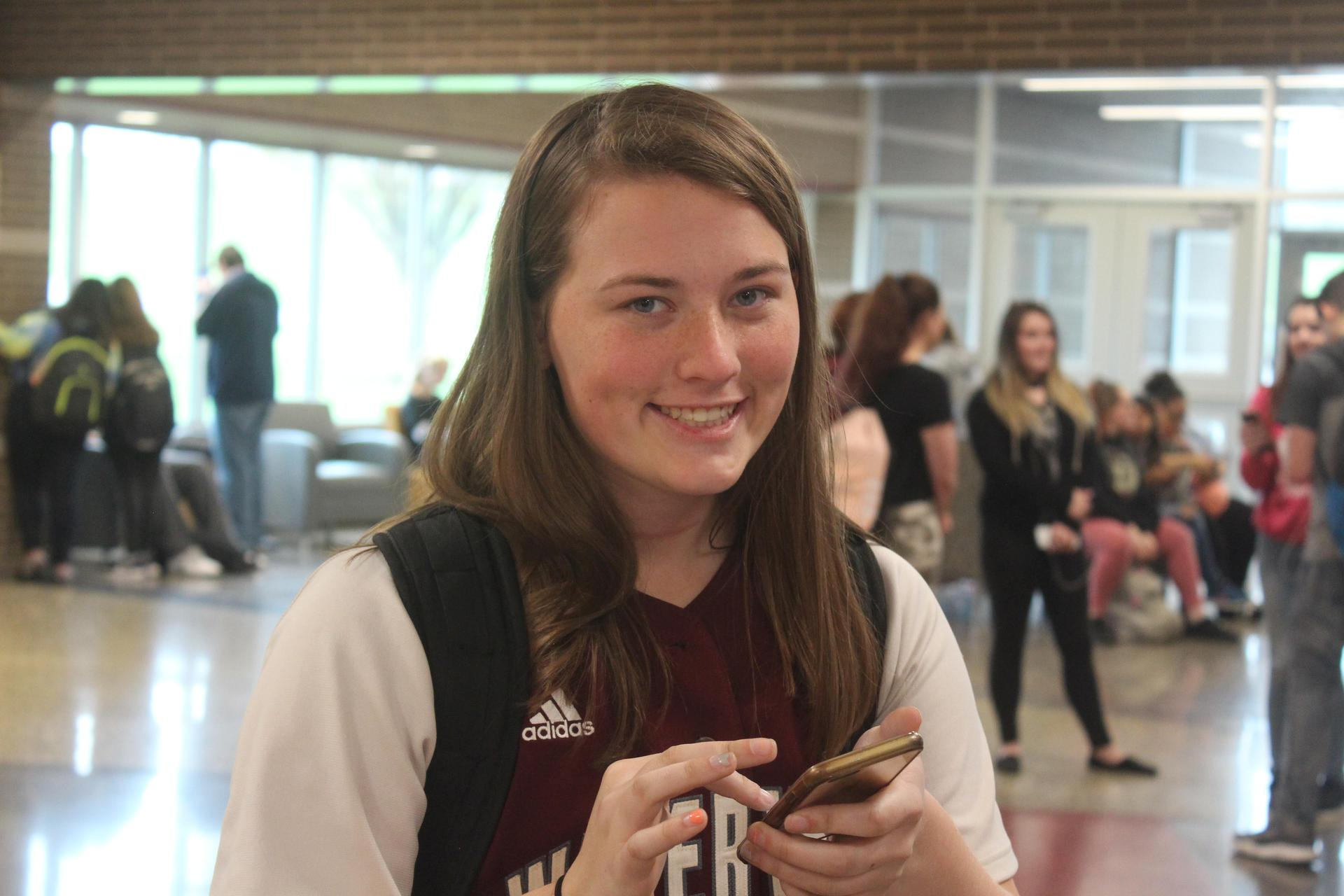Kristen Gardiner in cafeteria