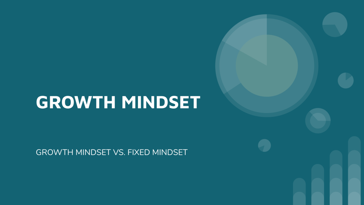Picture of a teal slide with growth mindset