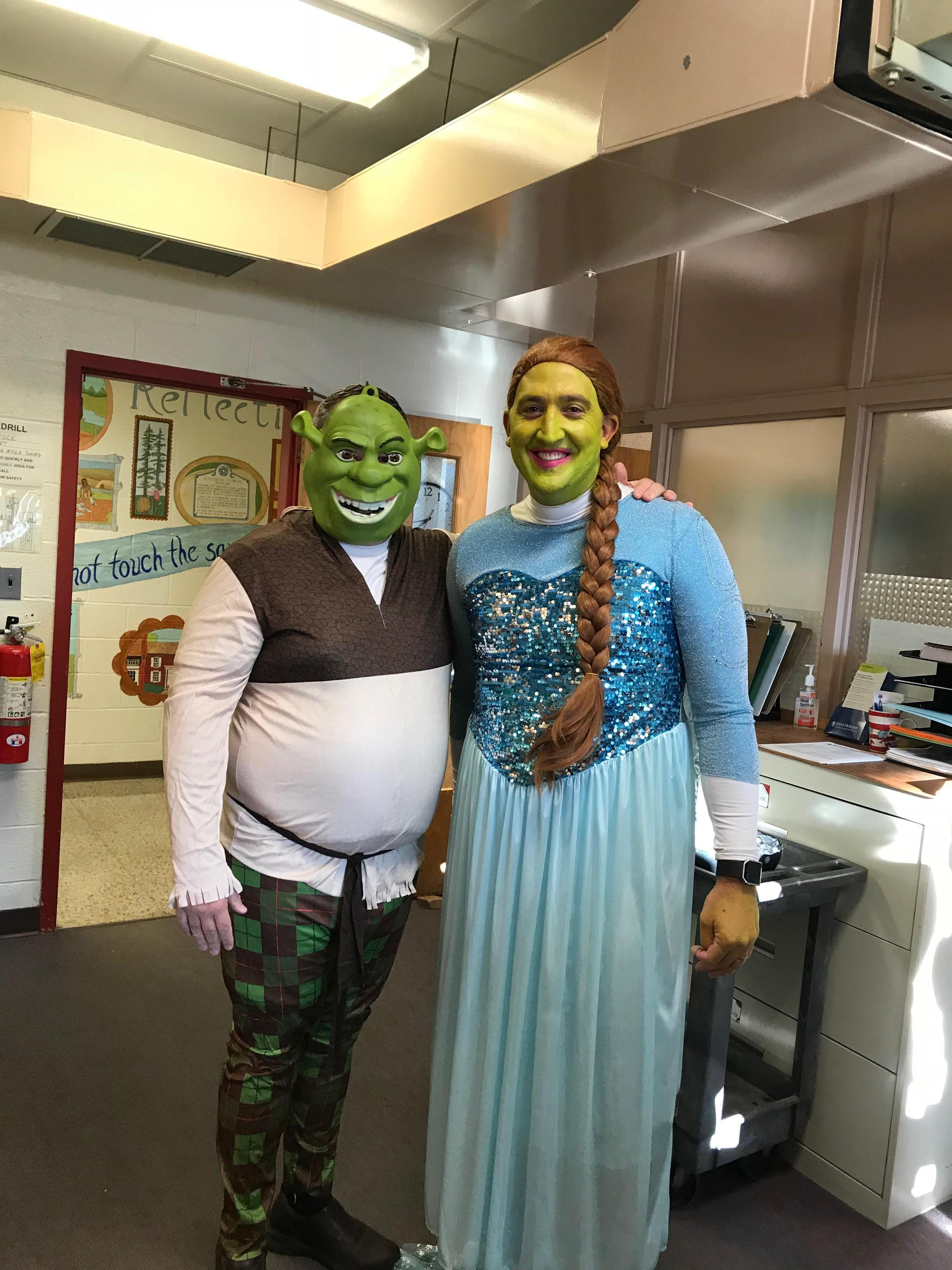 Mr. Sprague and Mr. Shurtz were Shrek and Fiona on October 19, 2018 because the bookfair sold over 5K in books!