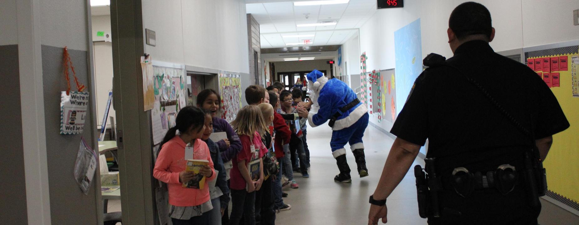 Elementary with Blue Santa