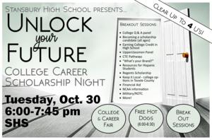 College, Scholarship, Career Night poster