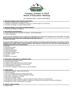 BOE meeting agenda for October 9th