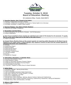 BOE meeting agenda for October 9th