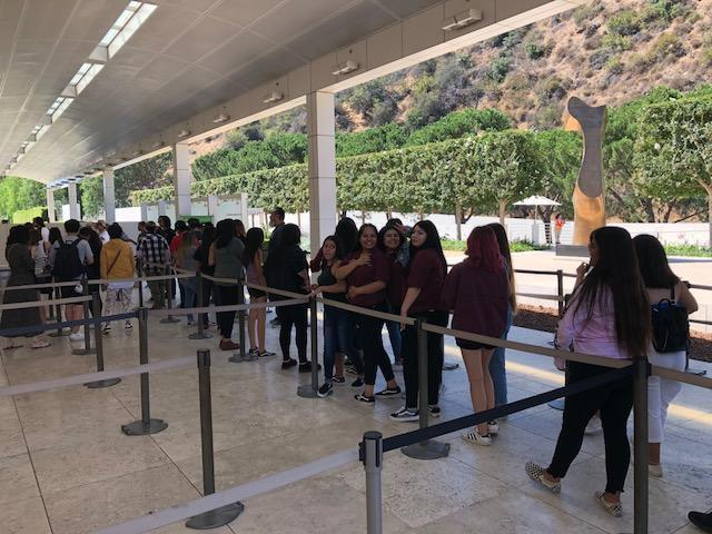 Students line up for the Getty shuttle.
