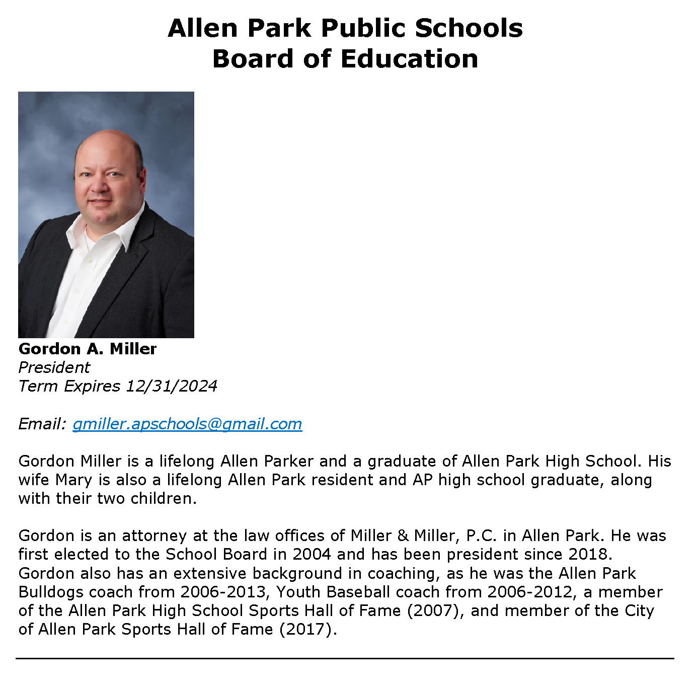 Board of Education Members - Miller