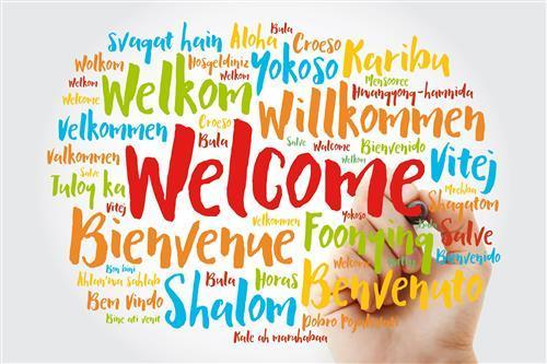 Welcome word cloud with many different languages