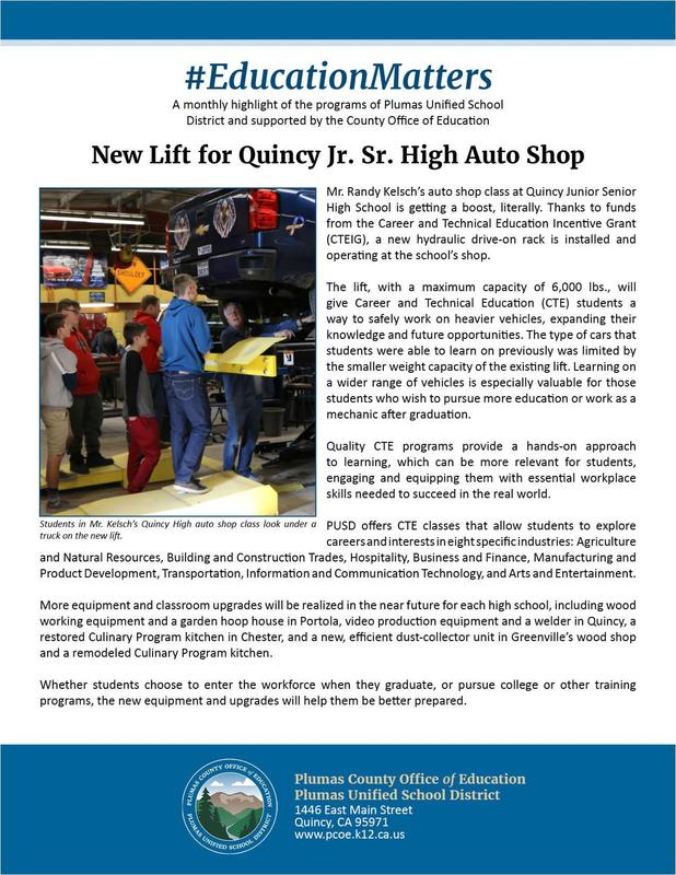 Article about new lift in QHS auto shop